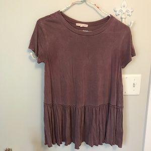 Burgundy Urban Outfitters Peplum T-shirt